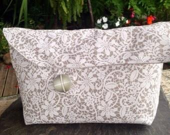 Clutch - makeup bag lace printed linen