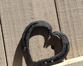 Hand forged horseshoe heart