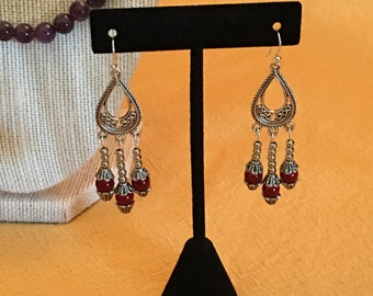 Chandelier Earrings in Red