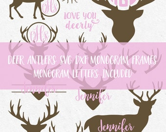 Svg Deer Antler Svg Antlers Monogram Svg Monogram Frames Svg  hunting svg deer head svg cut files cricut silhouette cutting files svg design