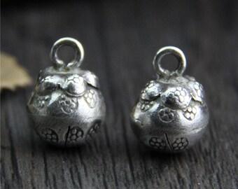 Karen Hill Tribe Sterling Silver flower bell charm,Brushed silver bell charm,round bell pendant,Jingle bell, flower bell
