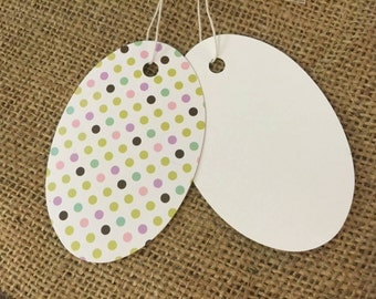 Small Boutique oval Birthday party Dot Pricing tags 100 pcs
