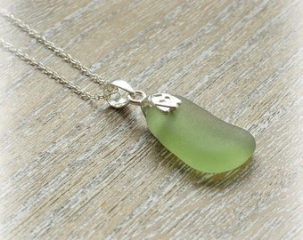 Pale Lime Sea Glass Necklace Sterling Silver Chain