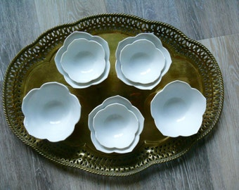 8 White Nesting Lotus Bowls, Porcelain Chinoiserie Flower Rice Bowls