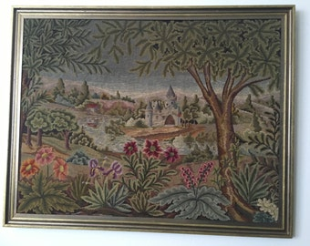 French Framed Colorful Needlepoint Tapestry