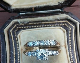 14k Gold 0.45ct Center VS Diamond Wedding Set Ring Engagement Ring