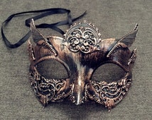 Black Copper Masquerade Ball Mask Steampunk themed Metallic Studs Detail