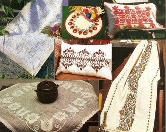 Set of 6 Vintage Hungarian embroidery patterns. pillowcase and table runner,