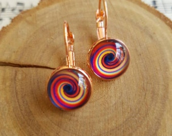 Colour swirl - 12mm Cabochon earrings featuring swirl image glass dome on lever back earrings