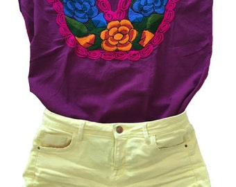 Mexican embroidered blouse made handmade Mexican clothing