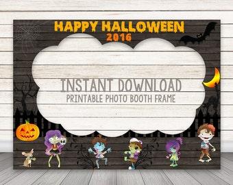 PRINTABLE Halloween photo booth frame, Halloween Photo Booth Prop, Zombie Party Happy Halloween Party Photobooth Frame Instant Download Prop