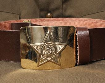 Russian military soldier's belt / Soviet Army brown belt
