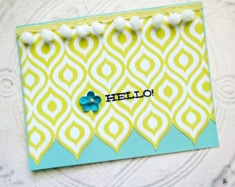 """Yellow and Teal Ikat Pattern """"Hello"""" Handmade Card"""