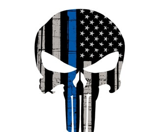 Thin Blue Line Punisher Decal