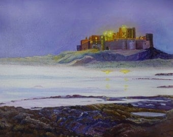 Castle by the sea at twilight - by Teresa