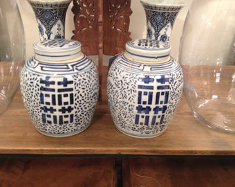 SOLD- DO NOTPURCHASE Blue and White Ginger Jar Pair