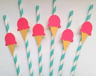 12 Fun ice cream Robins egg blue paper straws, ice cream straws, party straws, summer parties, birthday parties, ice cream floats, ice cream