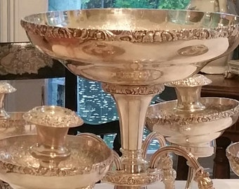 Epergne Barker Ellis Silverplate Epergne Mid Century w/ 4 Candlesticks And 4 Bowls