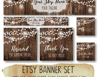 Etsy Banner Set, Rustic Banner Set, Wooden String light Facebook Timeline Cover Business Card Premade banner, Store Graphics, Branding - EB5