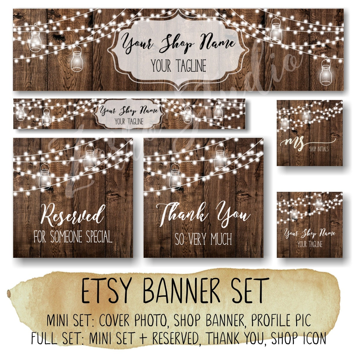 Etsy banner set rustic banner set wooden string light for Etsy shop policies template