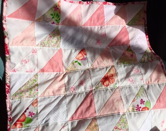 Mini Quilt - Pink and White