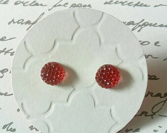Raspberry Red Multi Faceted Rhinestone Studs- Surgical Steel Posts