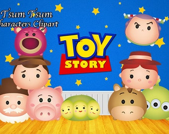 Toy Story Tsum Tsum Characters. 9 Digital Clipart. Toy Story Birthday Party. Baby shower. Party Supplies.