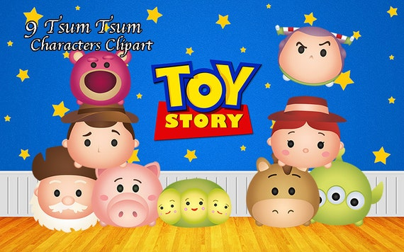 Toy Story Tsum Tsum Characters. 9 Digital Clipart. Toy Story