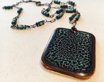 Whispering Brook - Long Blue Ceramic Pendant Necklace