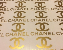 """2.5"""" Chanel 8 pcs, Vinyl stickers Chanel sign wall sticker, Chanel logo, envelope seals, glass sticker, favors stickers, party stickers."""