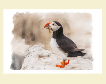 Puffing, Oil And Chalk Painted Puffin Print, Puffin Print, Puffin Wall Art