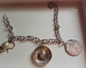 Vintage Sterling Silver 3 Charm Bracelet
