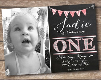 First Birthday Party Invitation - One Year Old Party - Printed and Printable