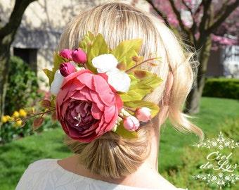 Bridal Floral Hair Comb Flowers Hair Clip Peonies Ranunkulus Silk Flowers Hairpiece