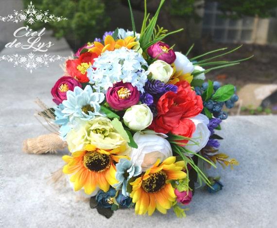 wedding bouquet sunflowers bridal bouquet poppies silk. Black Bedroom Furniture Sets. Home Design Ideas