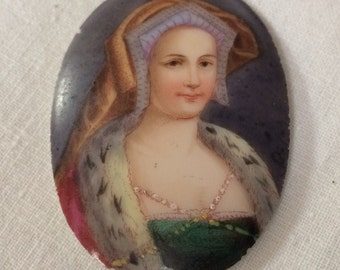 Antique Unmounted Painted Porcelain Oval, Portrait of a Lady