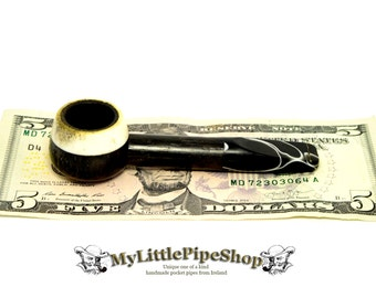 Small bog Oak pocket tobacco herb pipe.