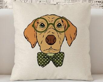 """Hipster Dog Pillow,  Preppy Pillow, Dorm decor Pillow 18"""" x 18"""",  Geek  Pillow, Intelectual Pillow, gift for students, Hand drawn Pillow"""