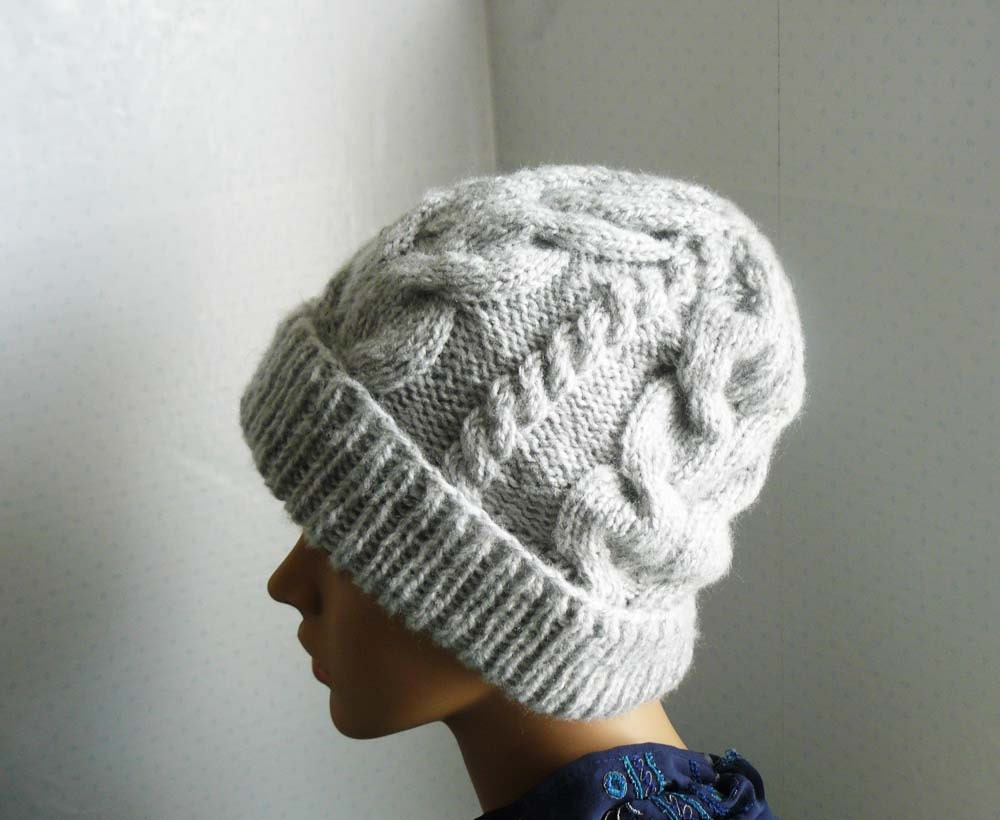 Women s Beanie Knitting Pattern : PDF Knitting PATTERN Knitted Cable Chunky Beanie Womens