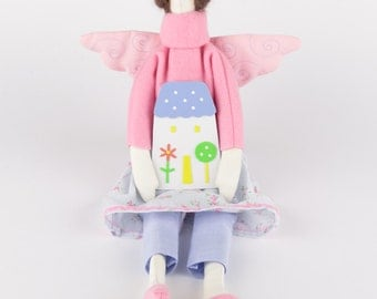 Soft handmade Tilda Angel doll - a big cute doll with a handsewn dress for kids and adults, a perfect house decoration, Christmas gift