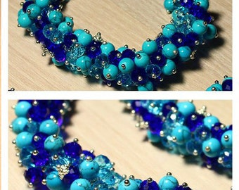 Unique authorial finery, handmade work, blue and dark navy beads of two natural stones: crystal glass, turquoise