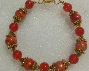 Fiery Orange and Gold Beaded Bracelet