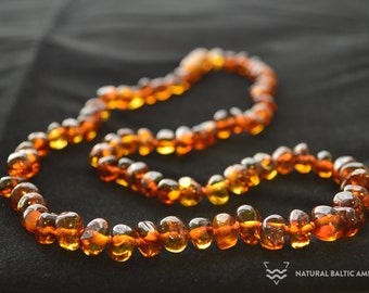 Baltic Amber Necklace For Adults 45cm 50 cm 55 cm 60cm  Made of Polished Baroque Beads Knotted jewelry KBS-003