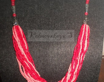 Bead Necklace Coral Necklace