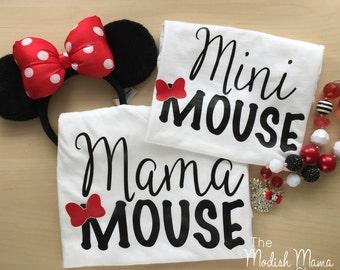 mama mouse, mini mouse, mouse ears shirt, mommy and me shirts, magic castle shirt, mouse shirt, matching shirts, baby girl shirt, girl shirt