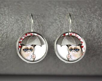 Grumpy Cat earrings, Grumpy Cat jewelry, Grumpy Cat accessories
