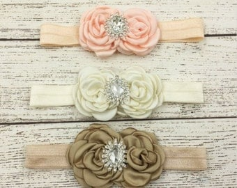 Girls Headband Pink Ivory or Taupe /Rhinestone Girls Headband/Photo Prop/Baby Headbands/ Newborn Headbands/Hair Bows/ Toddler Clip Hair Bow