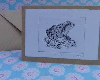 Frog card drypoint etching. Blank.