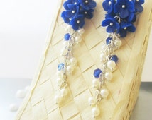 Royal long Blue Earrings Bridesmaid Gift Polymer Jewelry Flower Jewelry. Серьги с синими цветами.Длинные серьги.Цветочные серьги.
