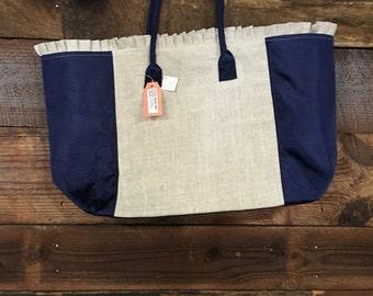 Linen Weekender Tote Bag